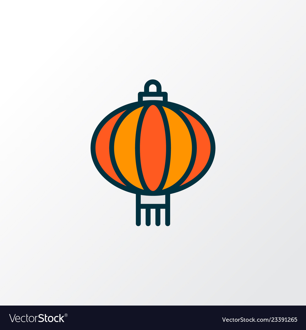 Chinese Lantern Icon Colored Line Symbol Premium Vector Image