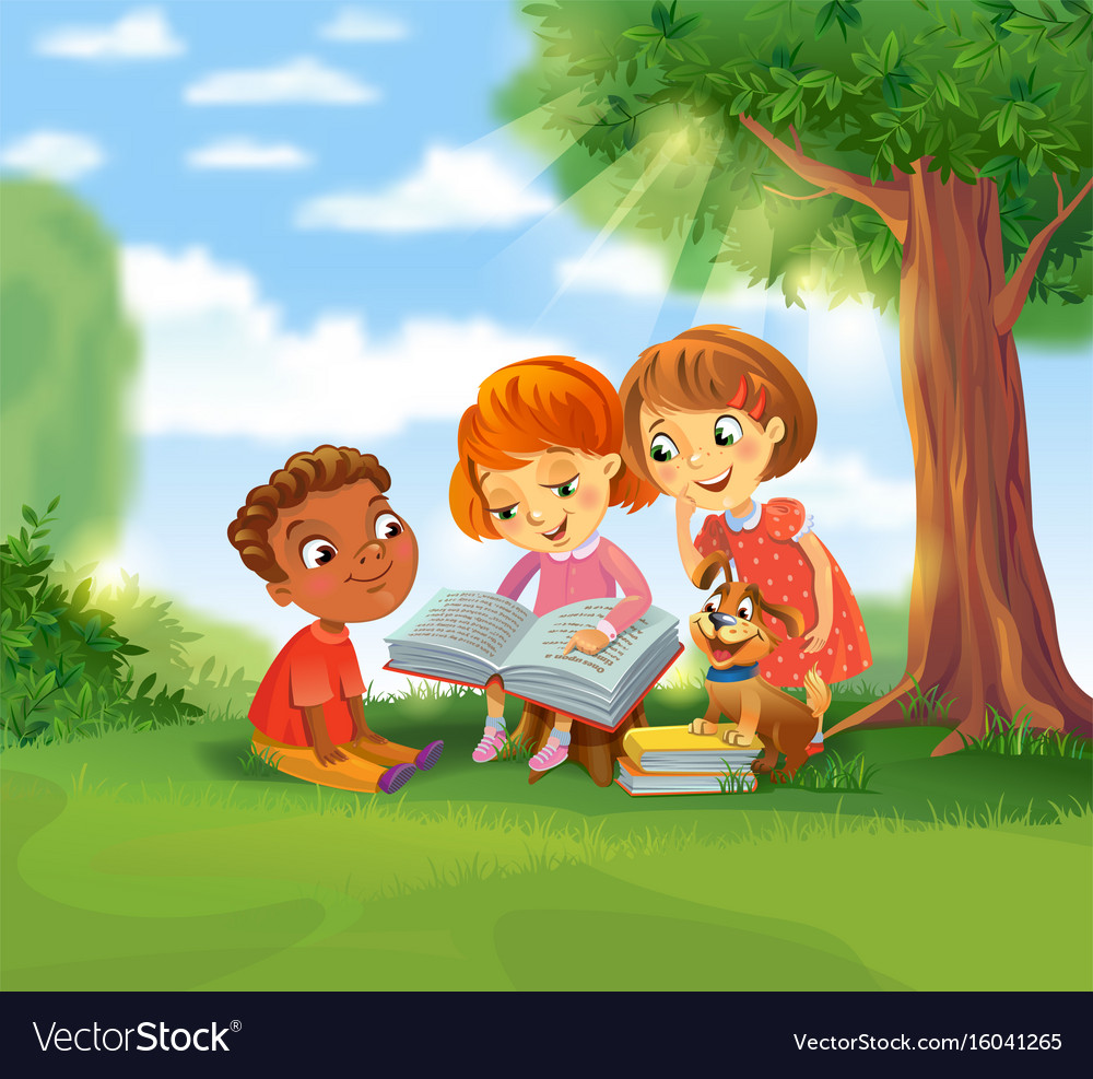 cute children reading books royalty free vector image