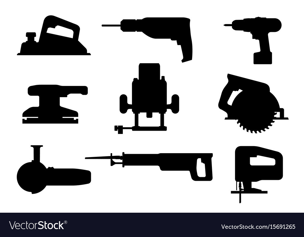 Electric tools black silhouettes