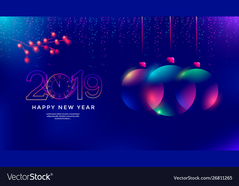 New year greeting card design with christmas ball