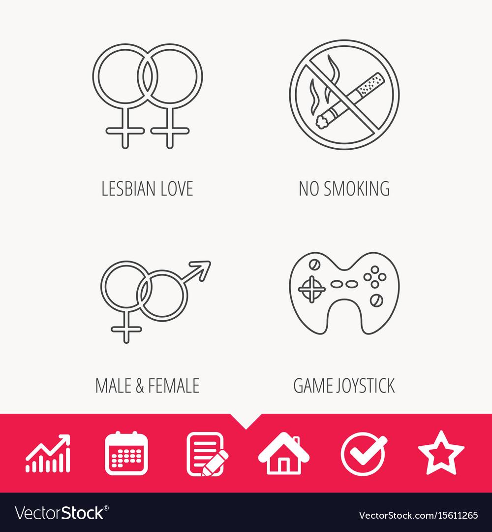 No smoking couple and game joystick