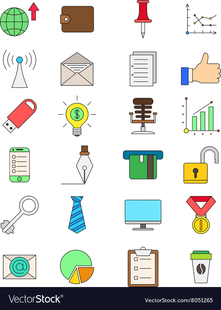 Set of color business icons