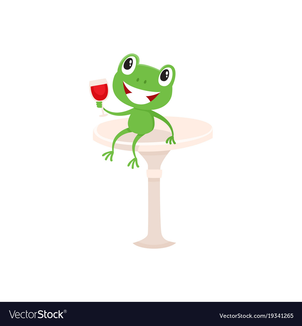 Symbols Of French Culture Frog And Red Wine Vector Image