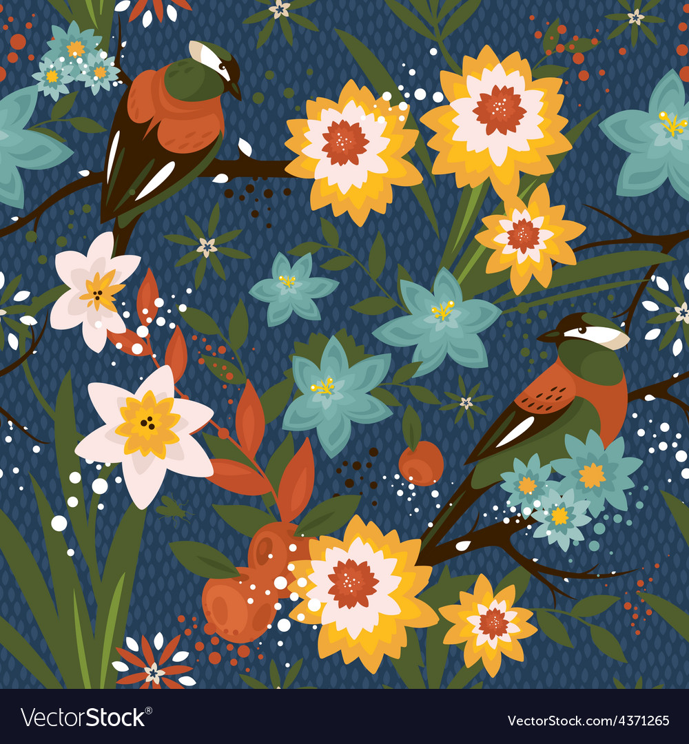 Vintage seamless floral pattern with birds