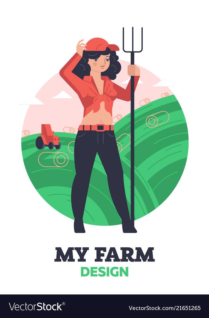 Woman farmer with hayfork
