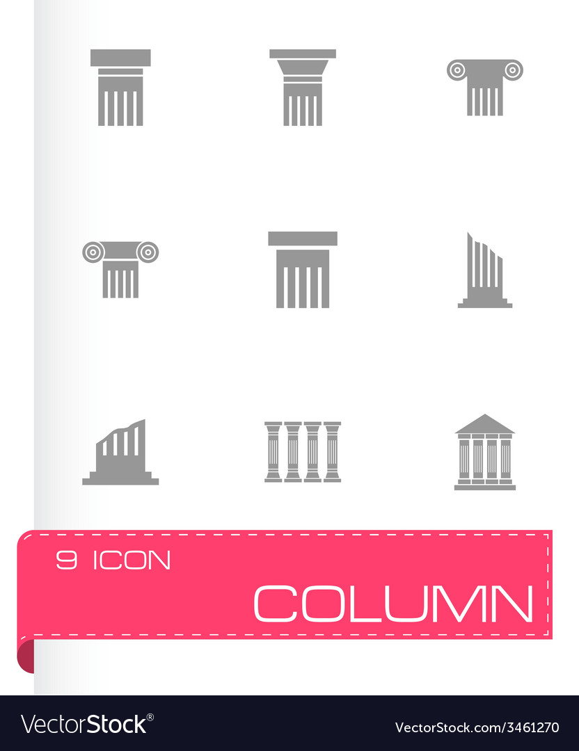 Black column icon set