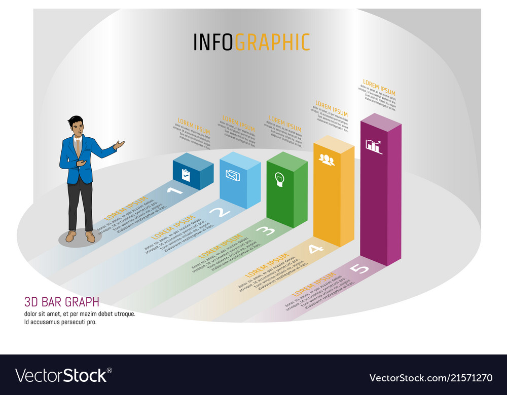 Business infographics isomatic bar graph style