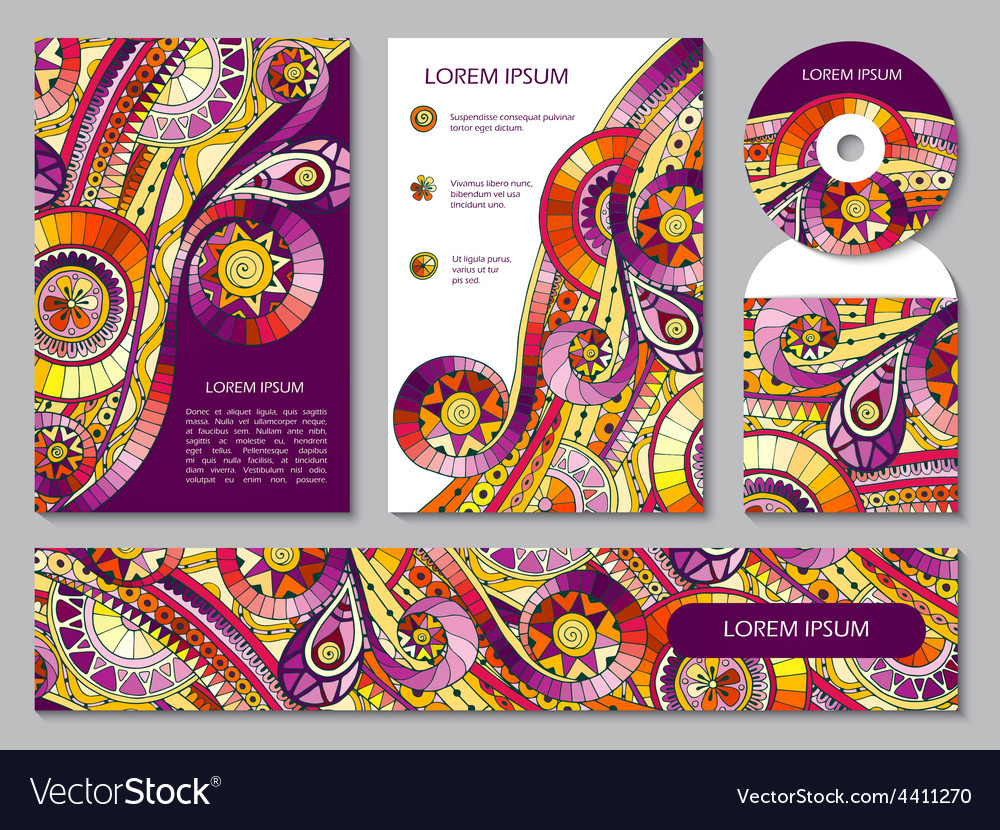 Corporate Identity Template With Tribal Doodles