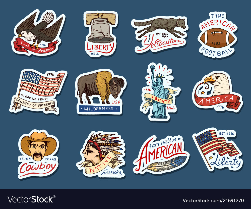 Native american stickers old labels or badges