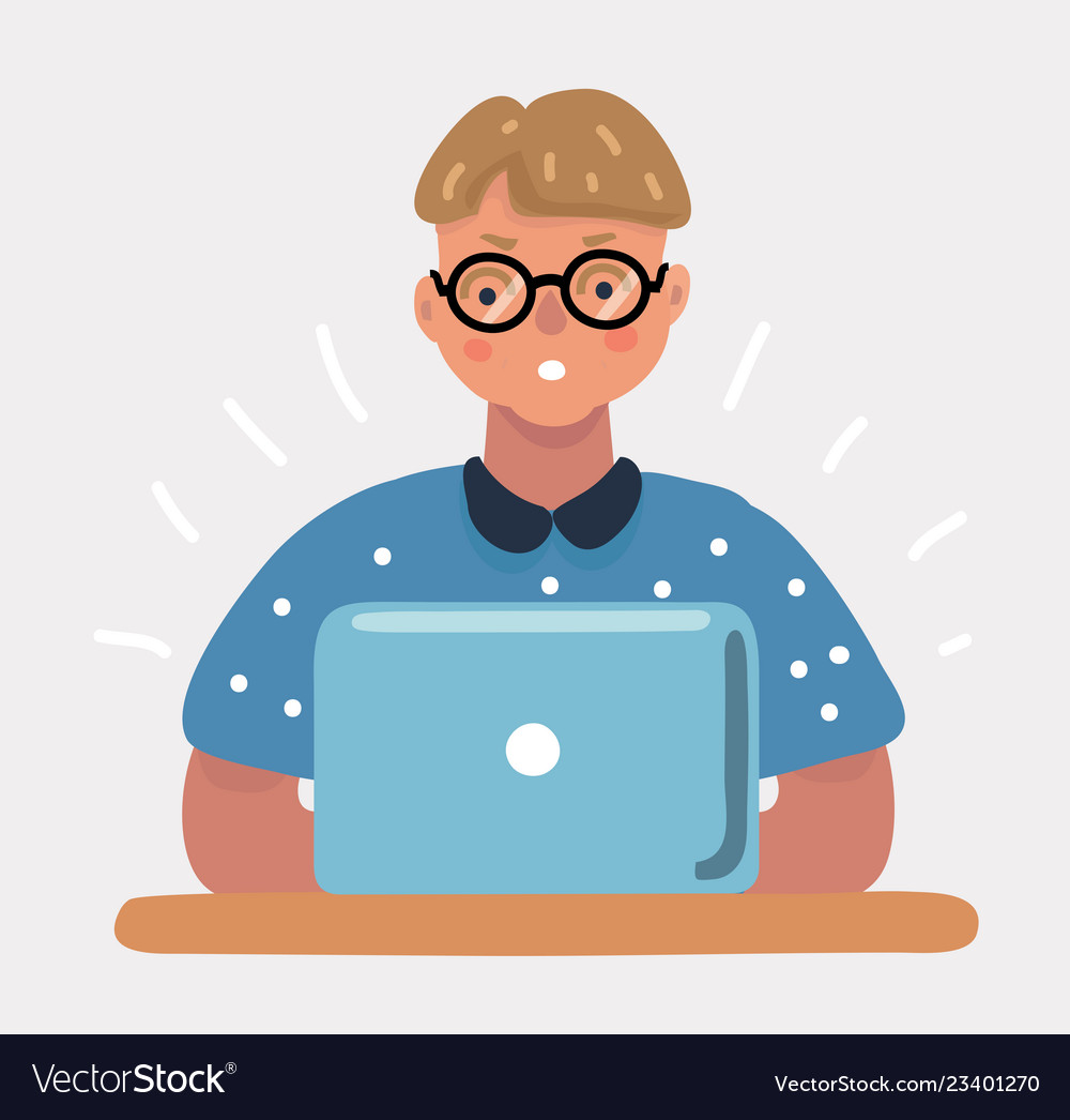 Nerd geek boy with laptop