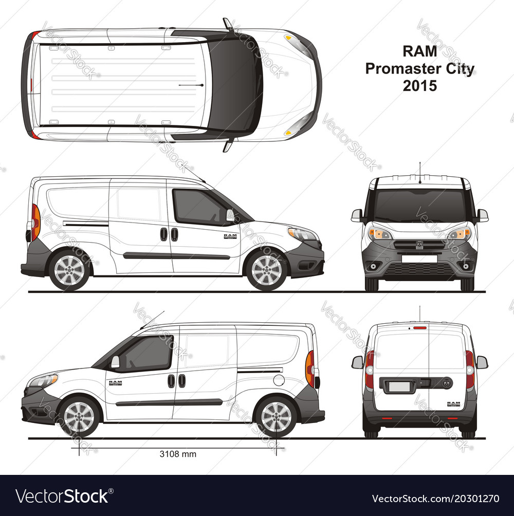 Dodge Ram Promaster >> Ram promaster city cargo delivery van 2015 Vector Image