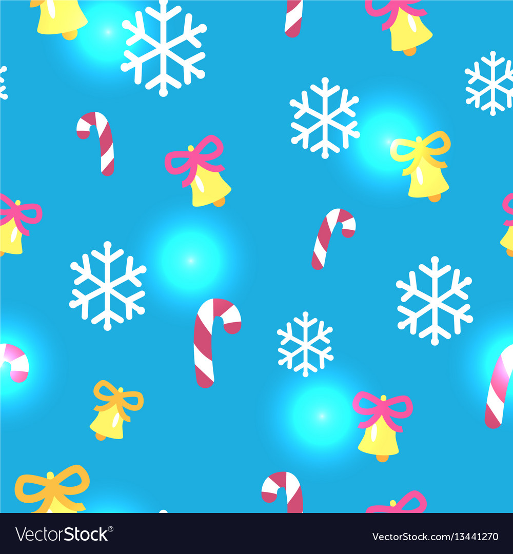 Seamless blue pattern with christmas decorations