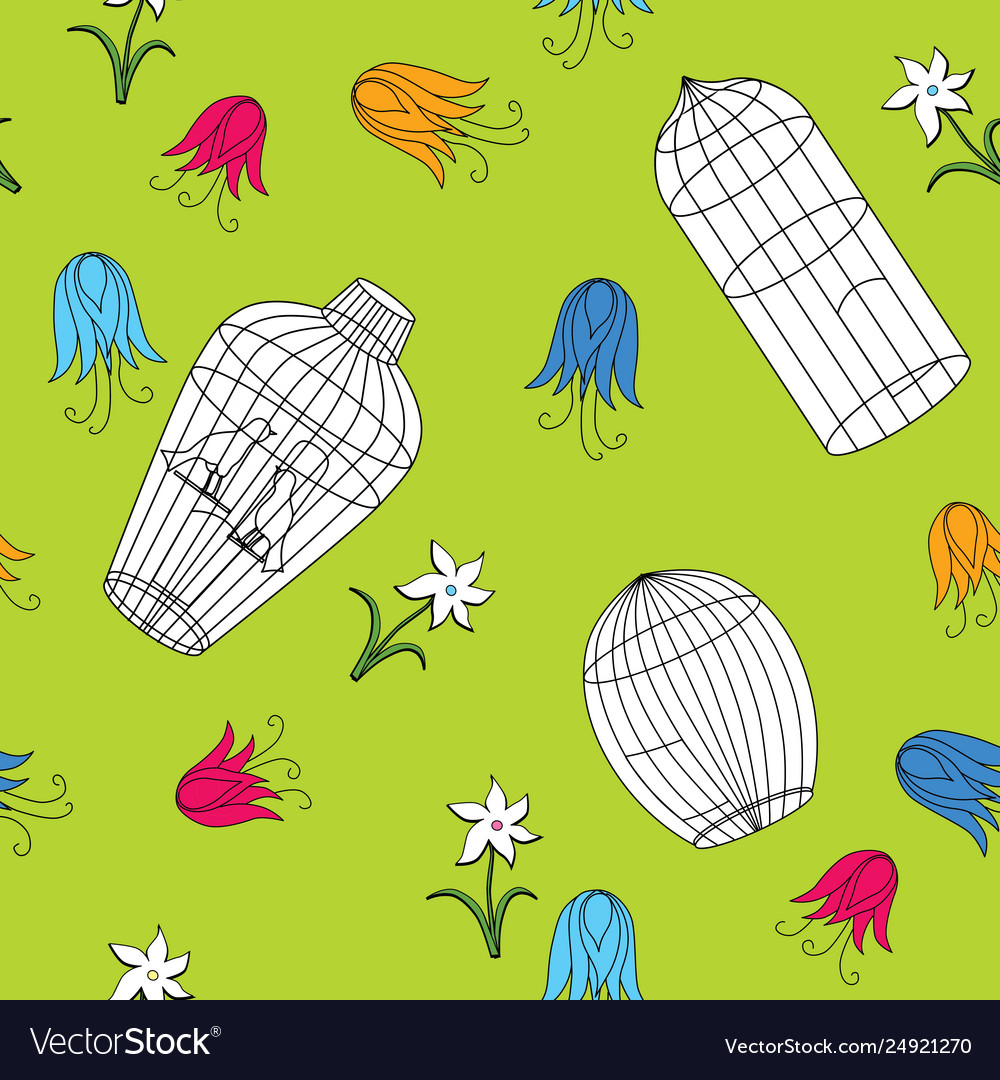 Seamless pattern different cages and flowers