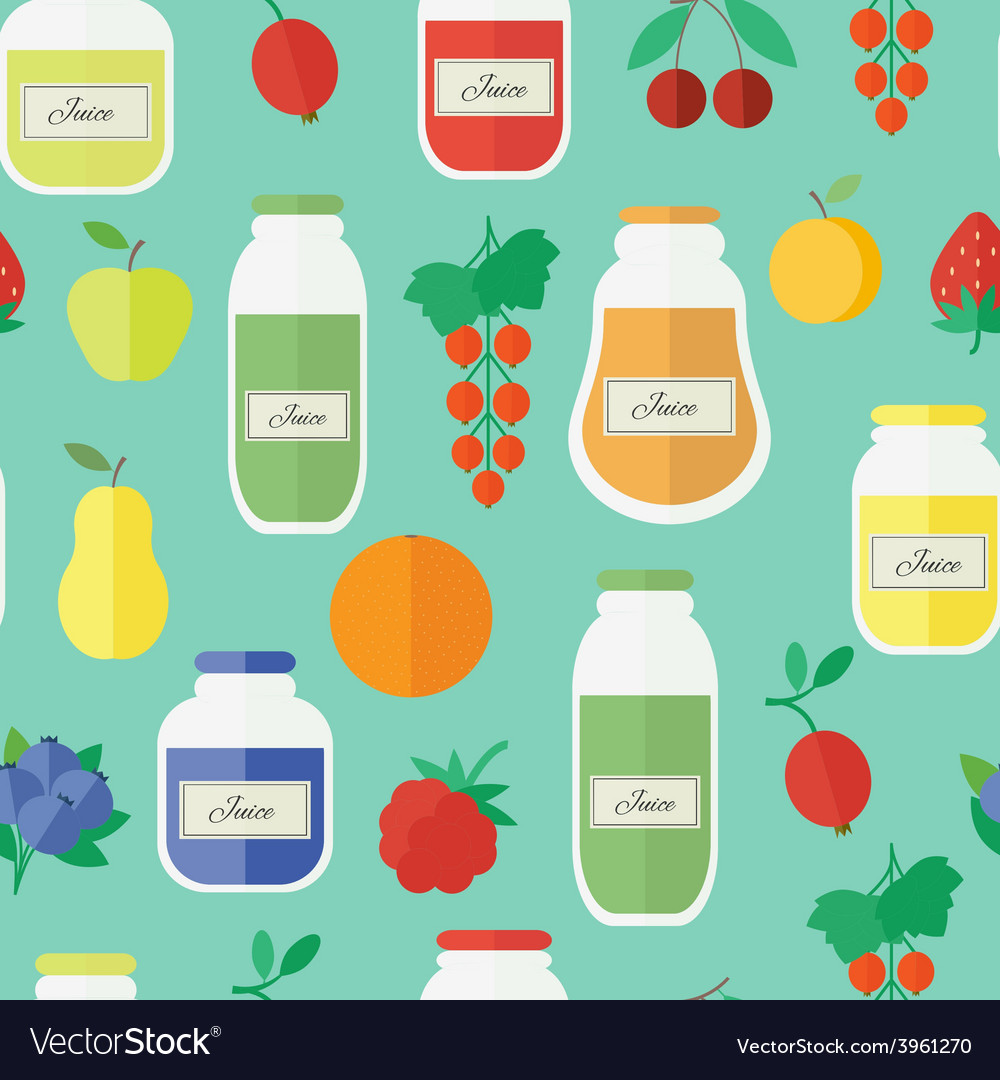 Seamless pattern with jars of juice in flat style