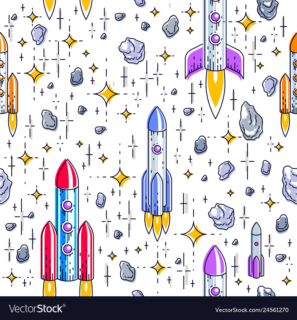 Seamless space background with rockets stars and