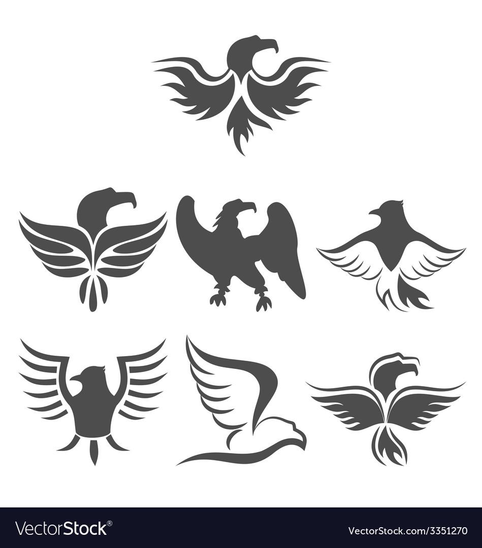 Set icon eagles symbol isolated on white