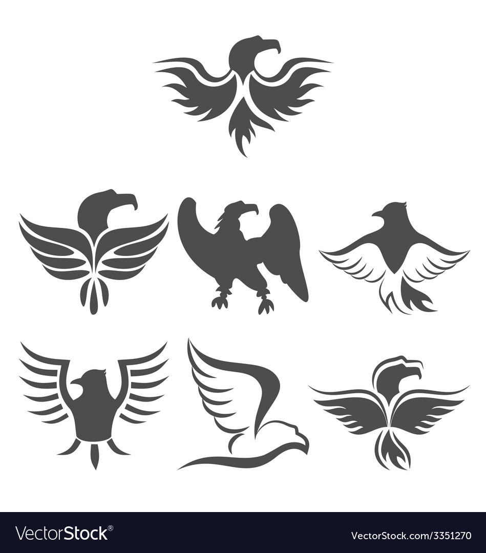 Set icon of eagles symbol isolated on white