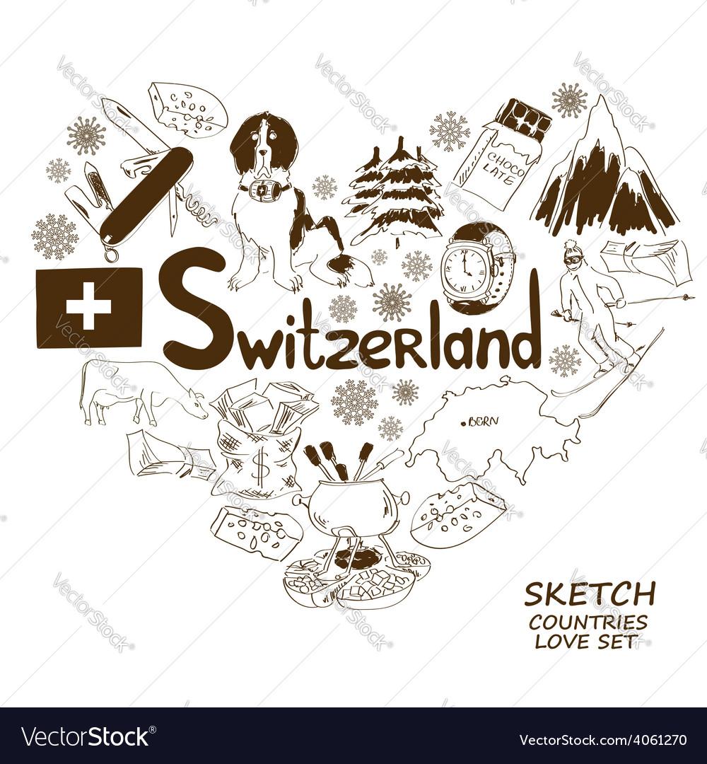 Symbols of Switzerland in heart shape concept vector image