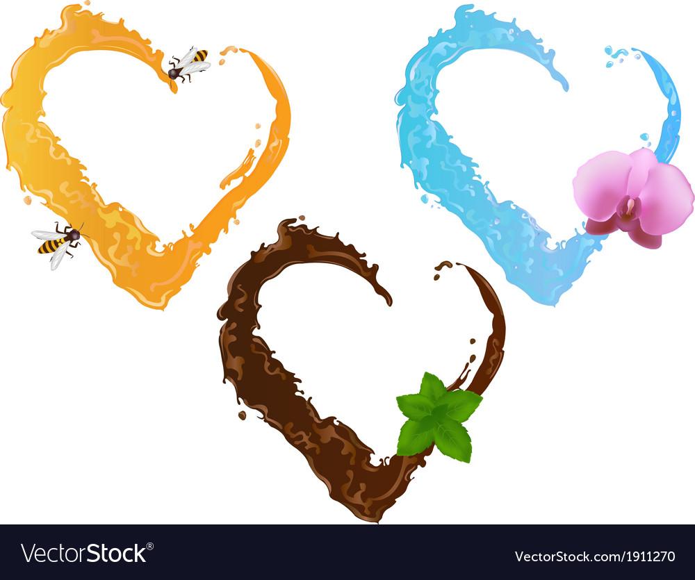 Three liquid hearts chocolate honey and water vector image