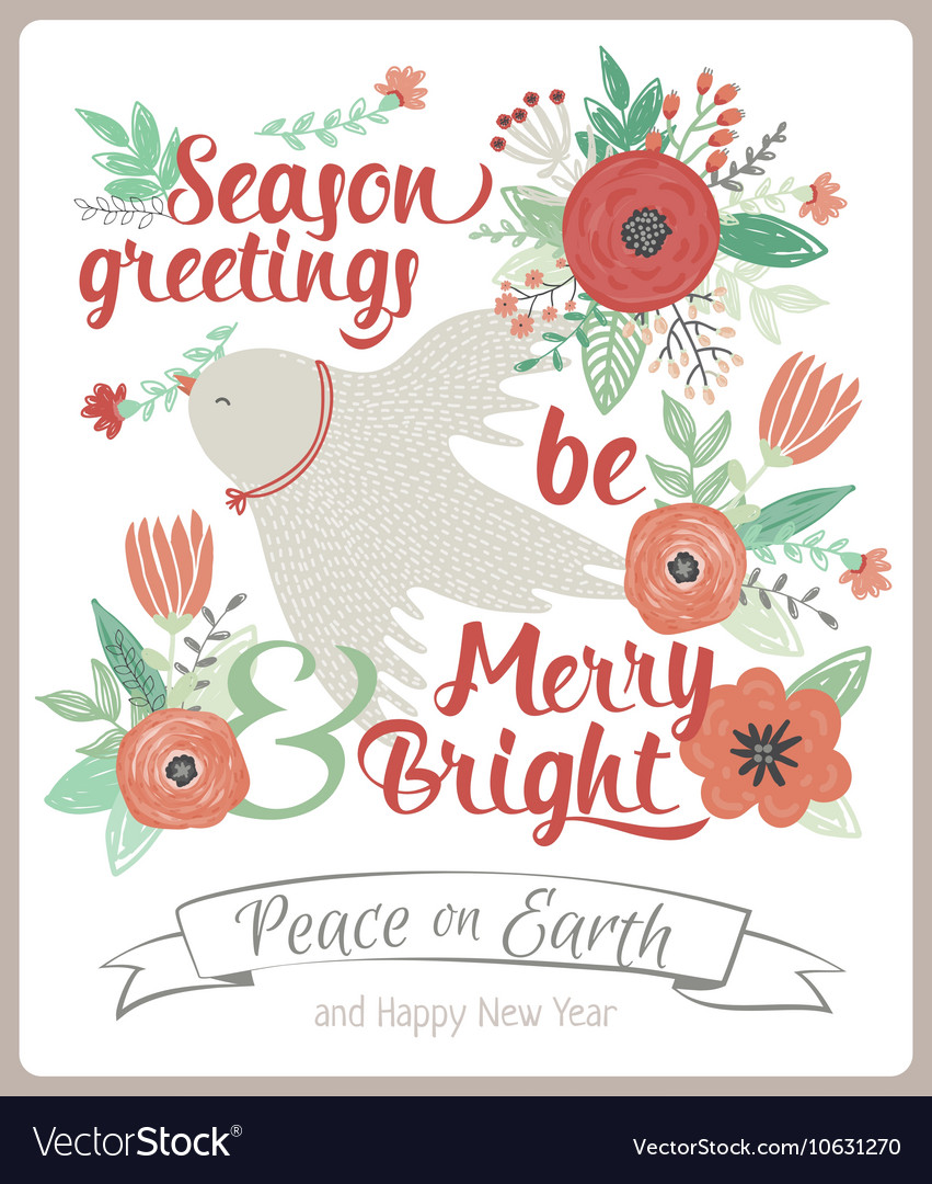 Vintage Merry Christmas And Happy New Year card Vector Image