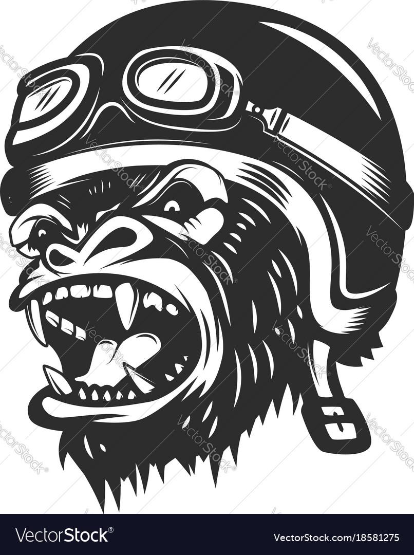 Angry gorilla ape in racer helmet design element