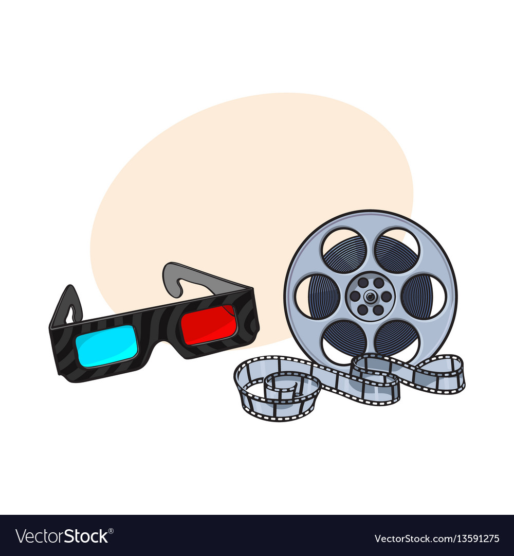 Blue-red stereoscopic 3d glasses and cinema film