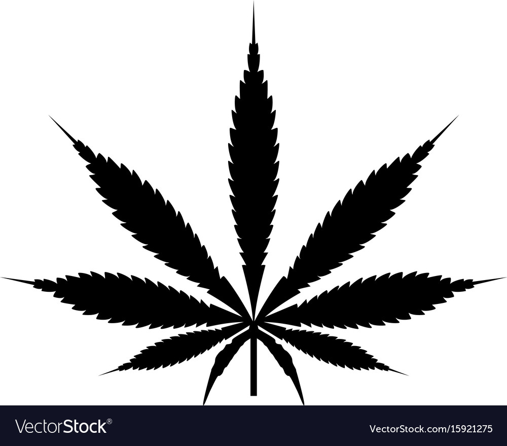 Cannabis Marijuana Leaf Black Color Icon Vector Image