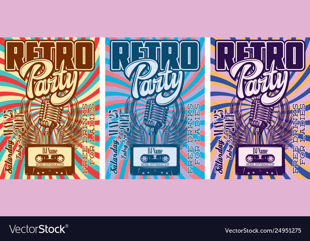 Color template in retro style for party with