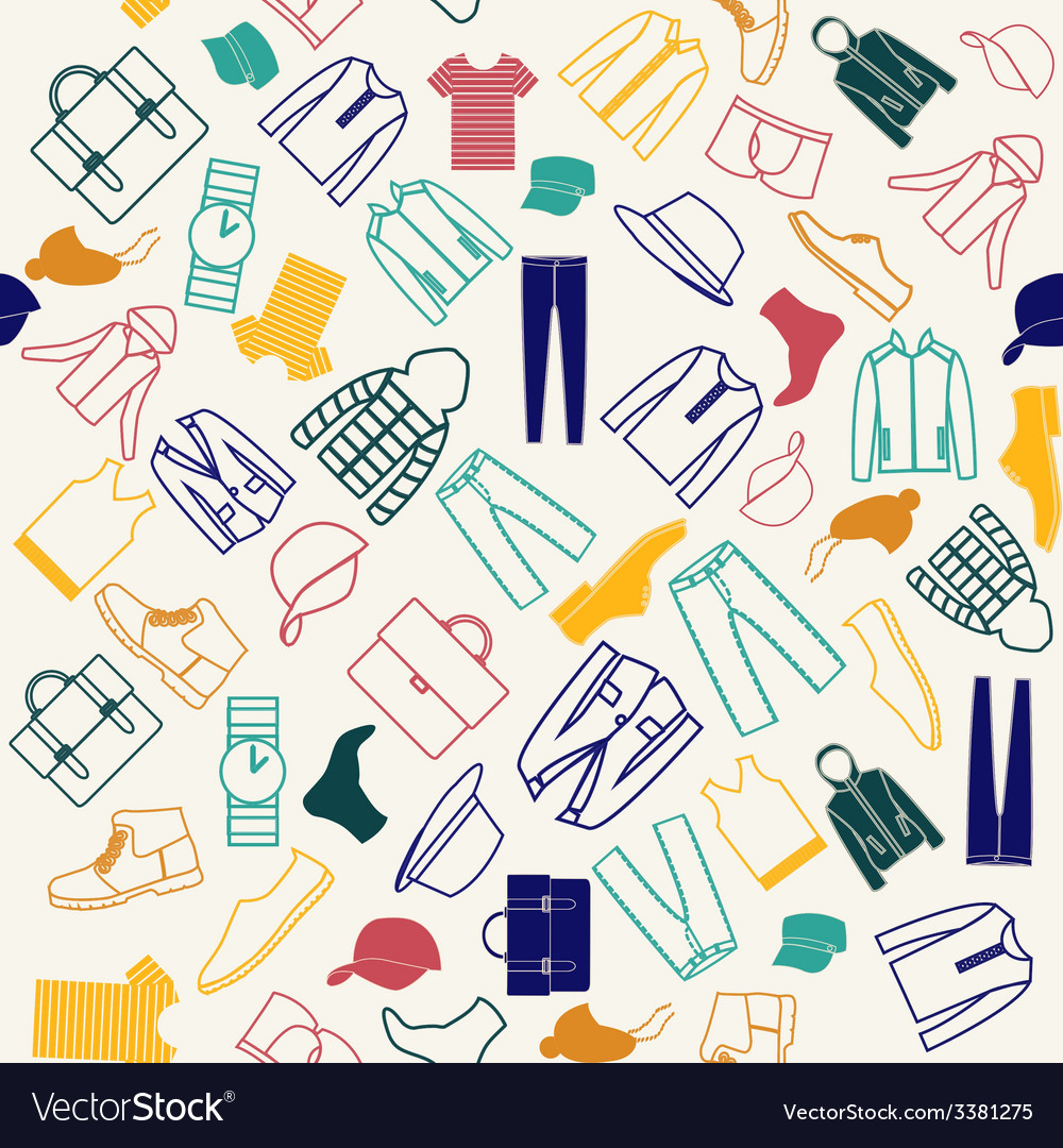 Colorful Pattern Fashion Men Clothes Royalty Free Vector
