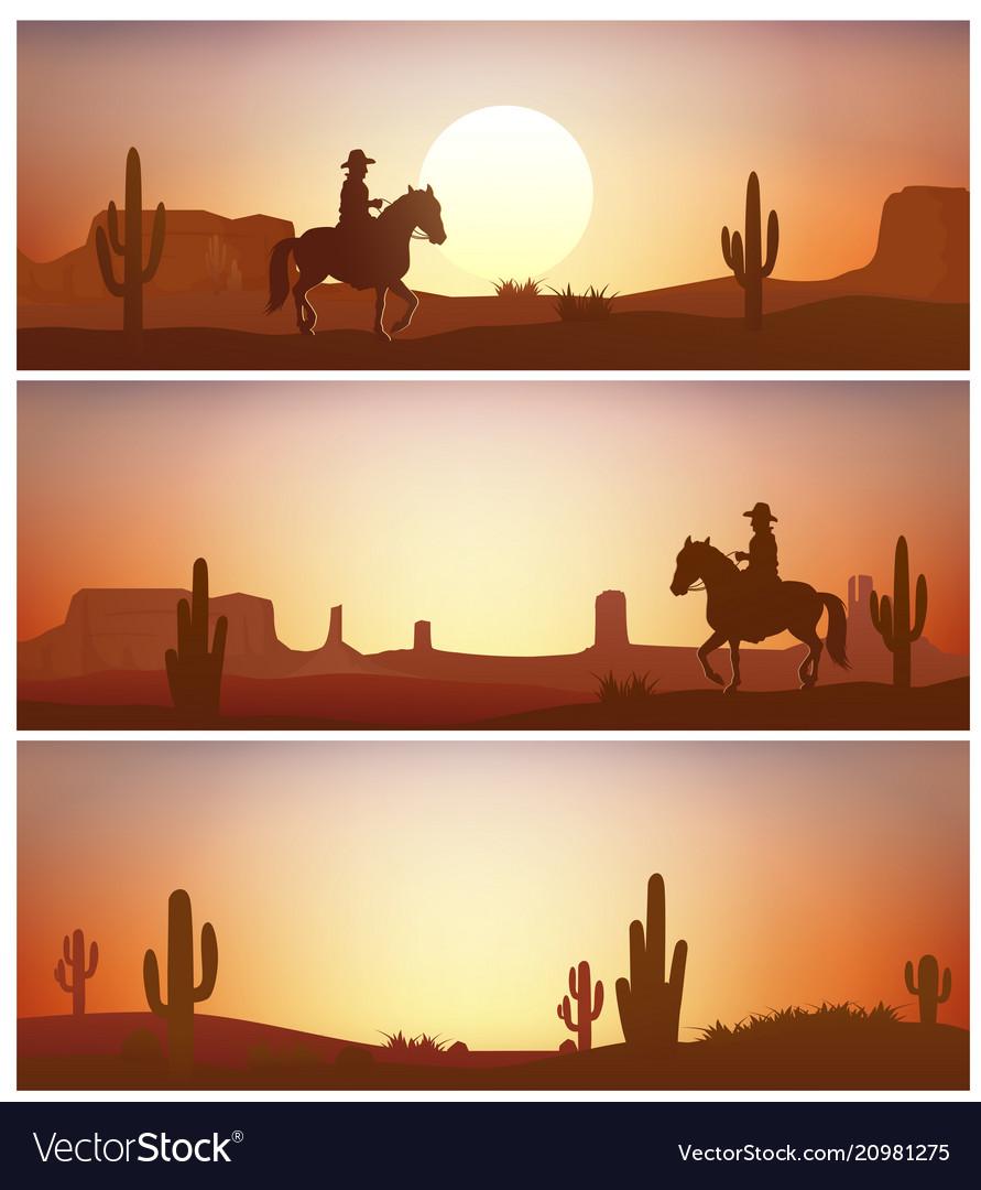 Cowboy riding horse against sunset background