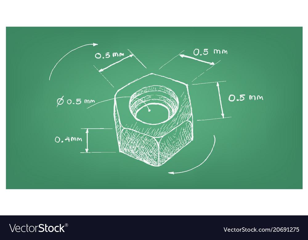 Dimension of hex nut screw on blueprint royalty free vector dimension of hex nut screw on blueprint vector image malvernweather Choice Image