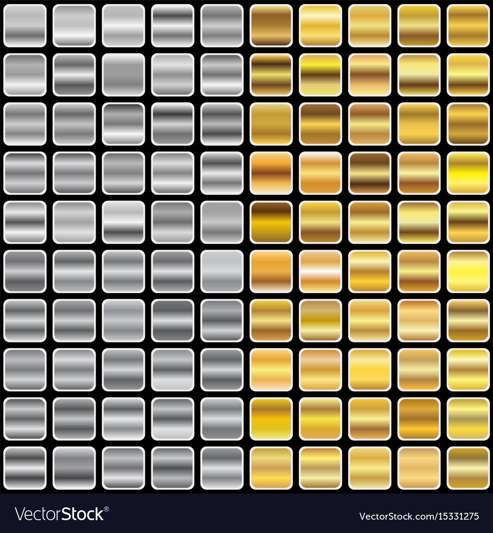 Gold and silver gradients vector image