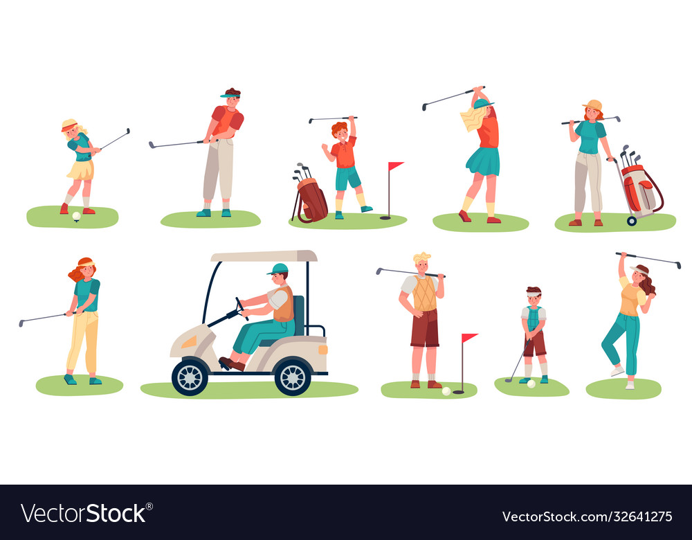 Golf players characters men women and children