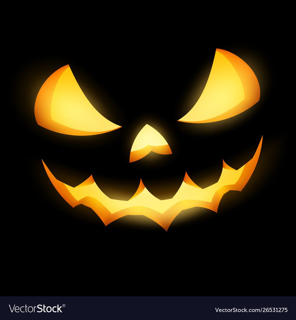 Grinning Jack O Lantern On Black Background Eps Vector Image