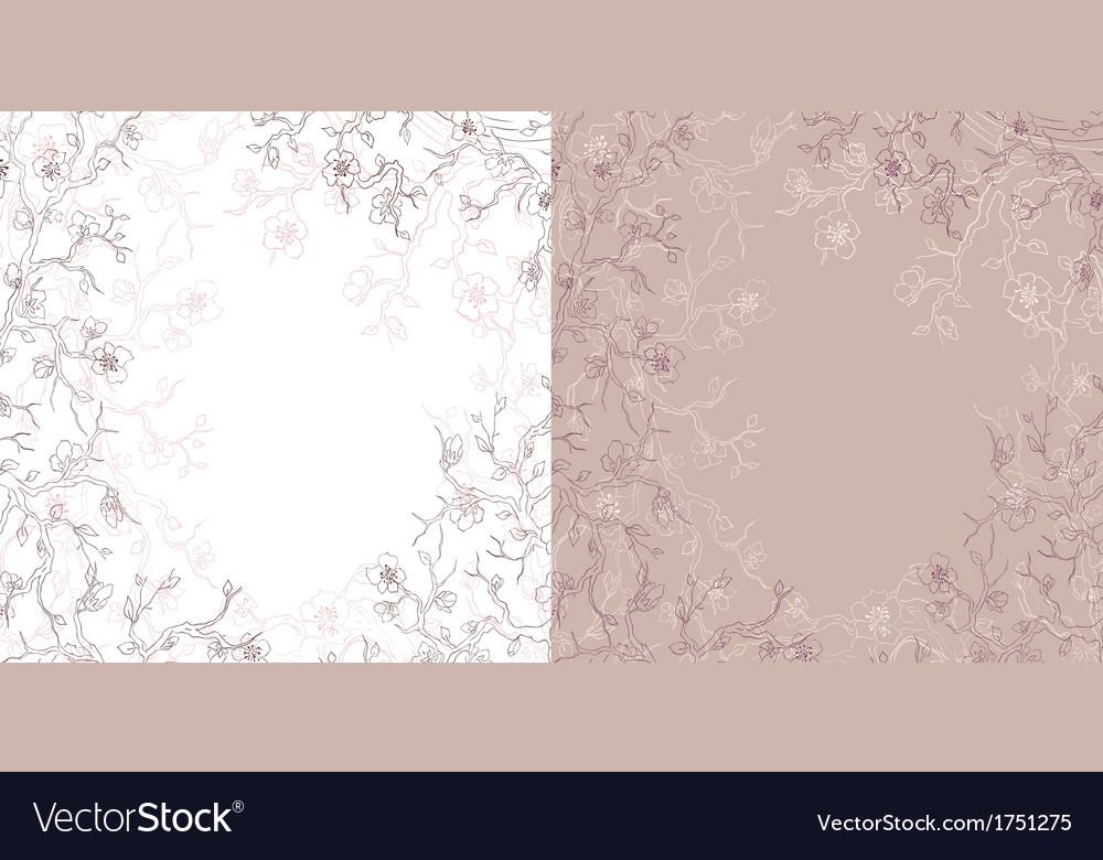 Hand drawn flowering tree card
