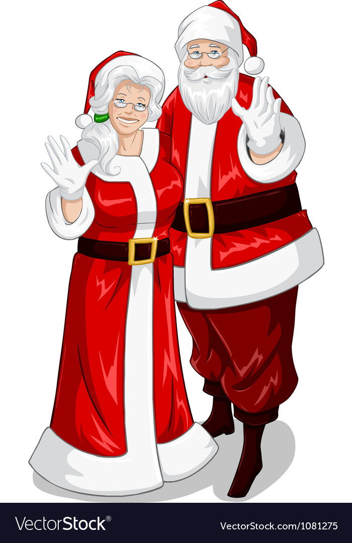 santa and mrs claus royalty free vector image vectorstock rh vectorstock com Santa Claus Face Clip Art Santa Claus Outline Template