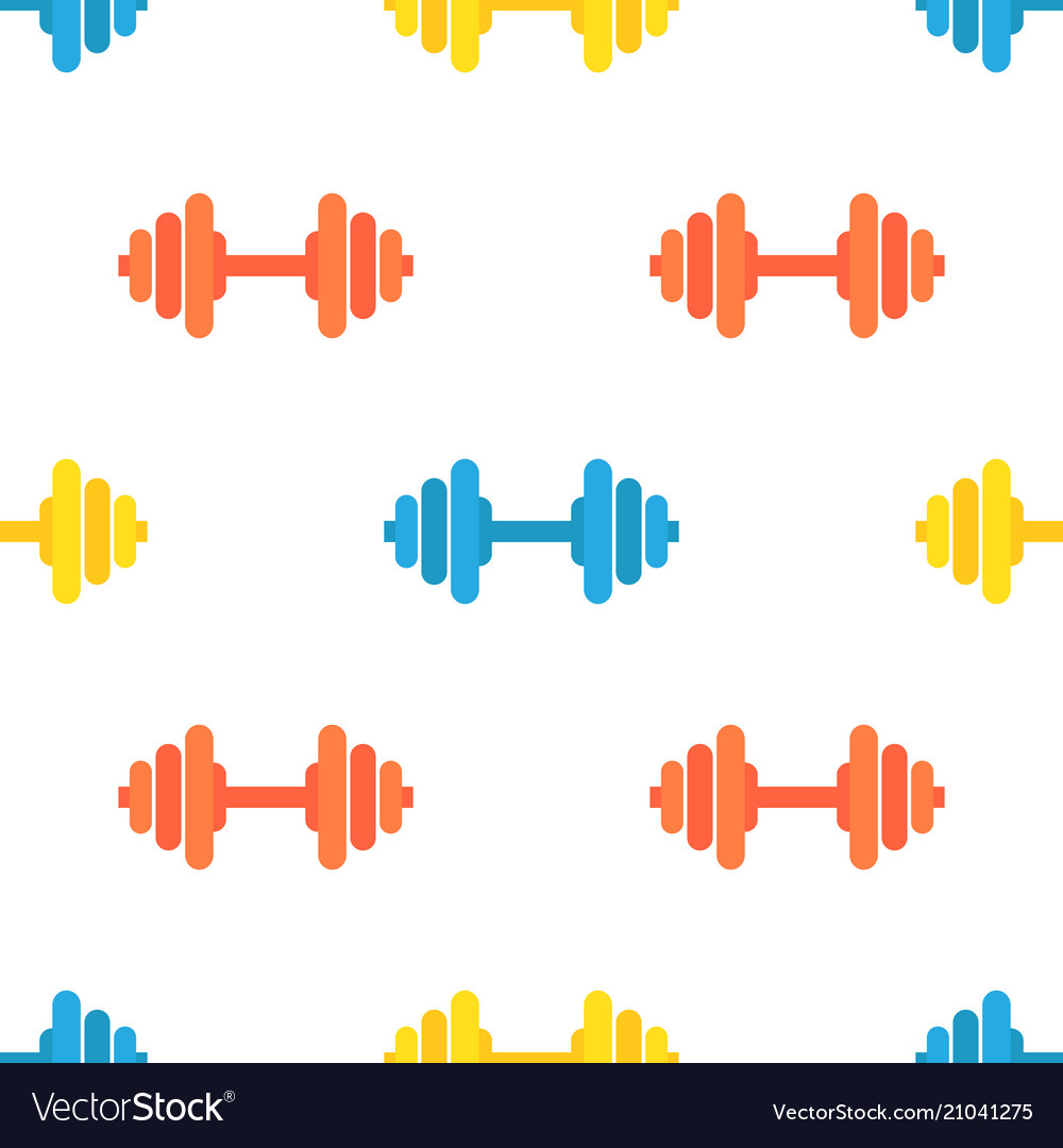 Seamless pattern of gym barbells sport