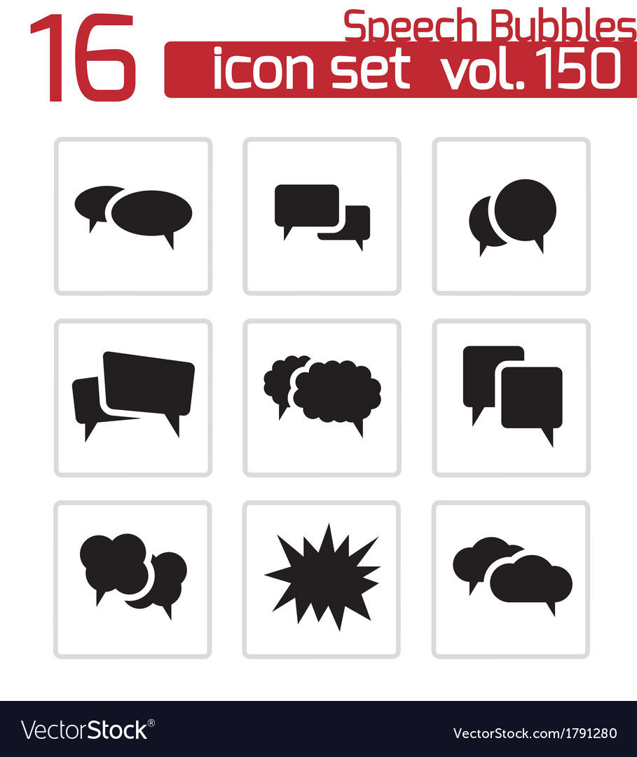 Black speech bubble icons set
