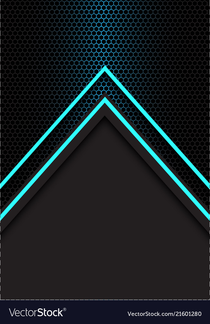 Blue arrow light direction hexagon mesh