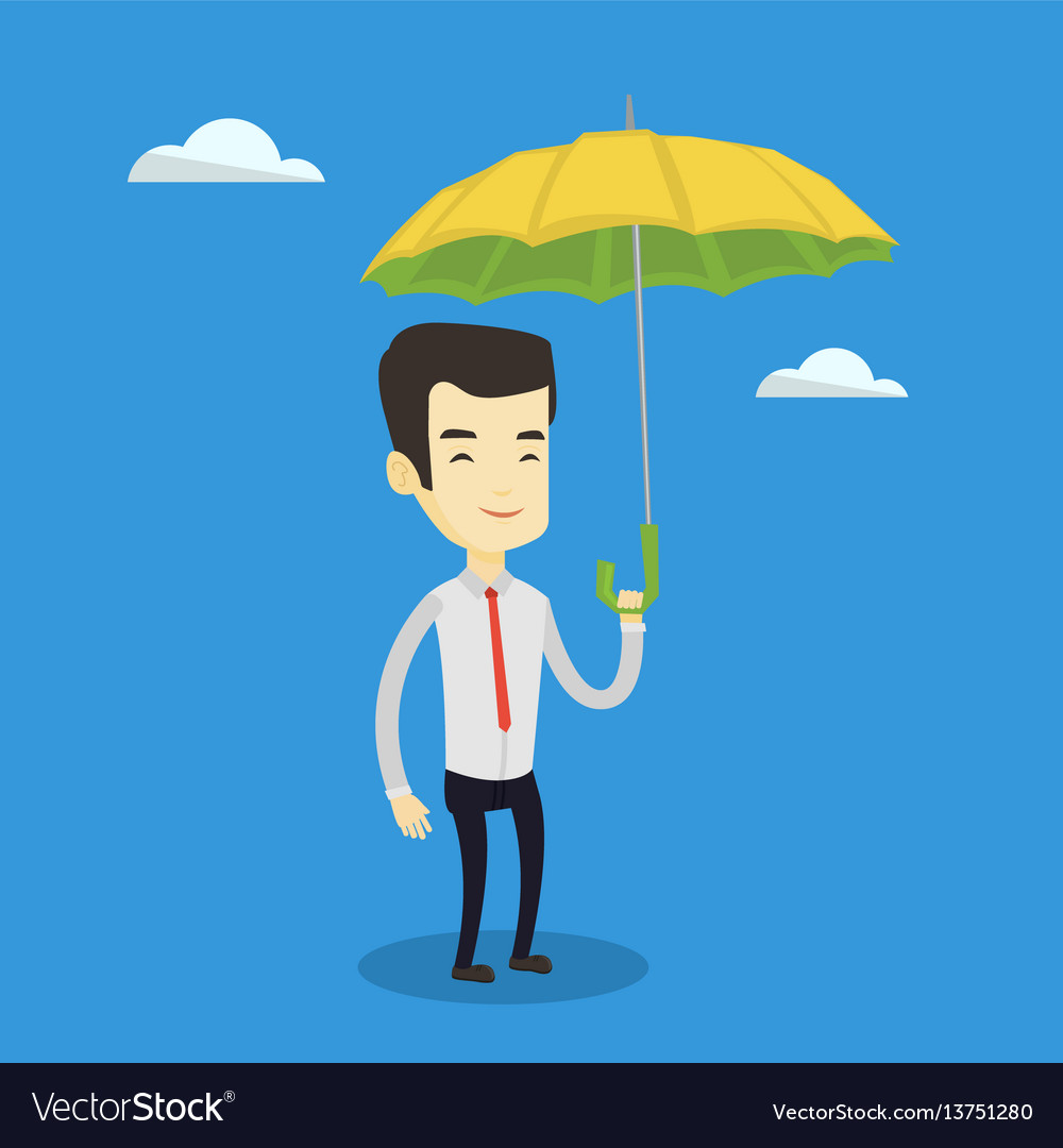 Business man insurance agent with umbrella