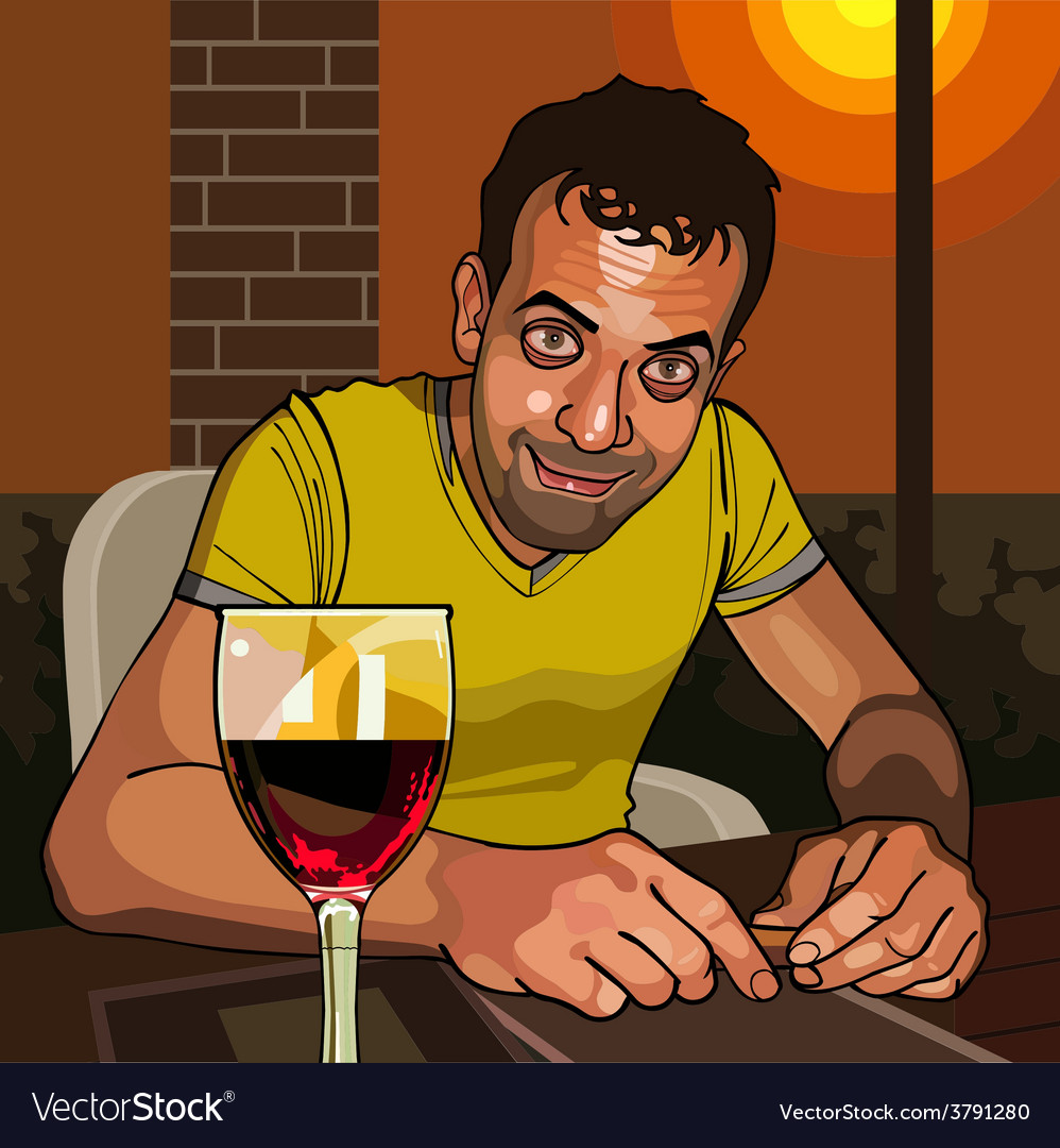 Cartoon smiling man sitting at a table