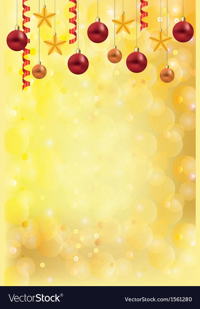 Christmas gold background balls stars