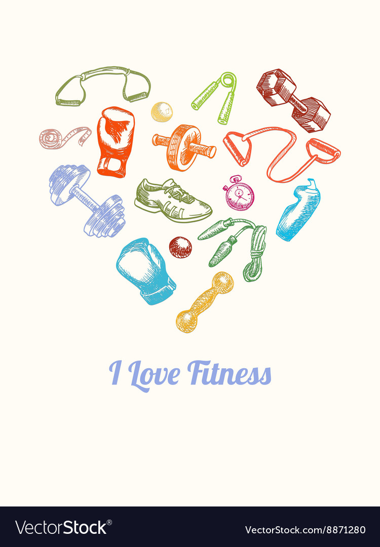 Fitness and gym Background Hand drawn colorful