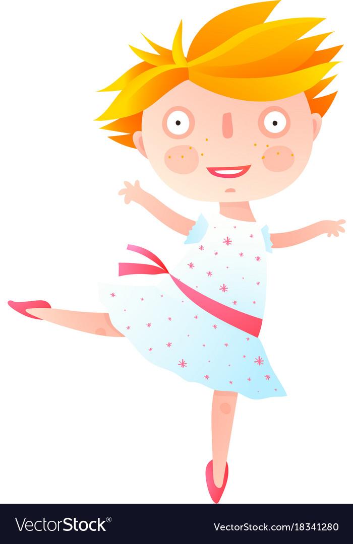 Girl dancing ballet in cute dress