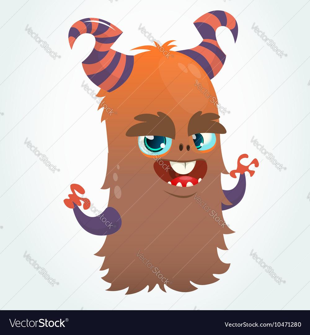 Happy cartoon orange and fluffy horned monster