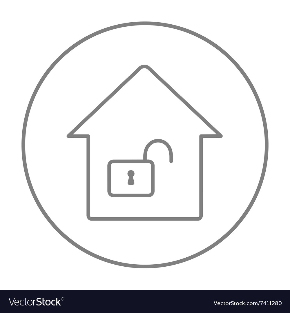 House with open lock line icon vector image on VectorStock