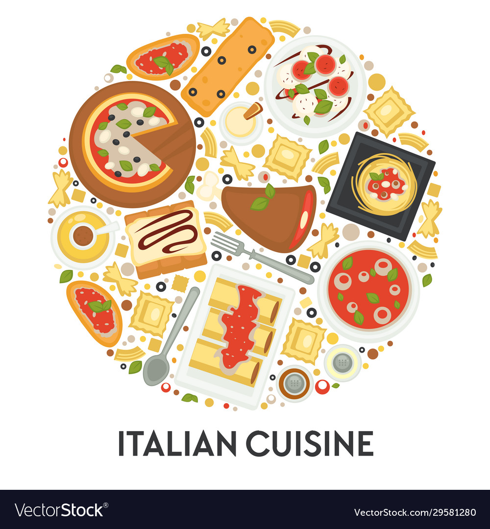 Italian cuisine menu pizza and pasta food of