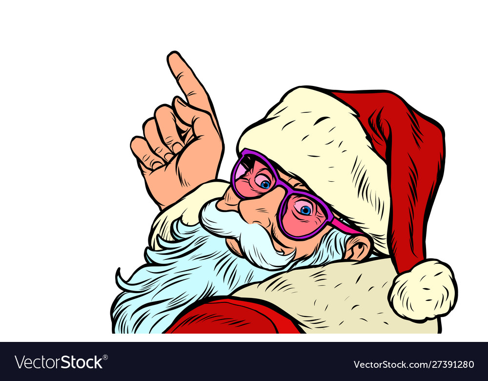 Santa claus is pointing merry christmas and happy