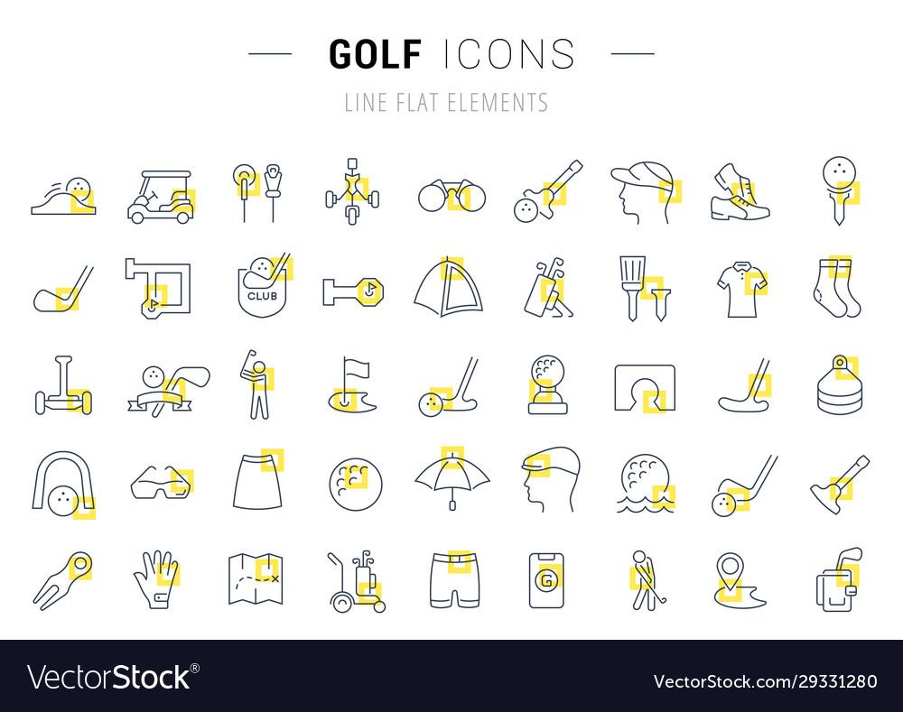 Set line icons golf