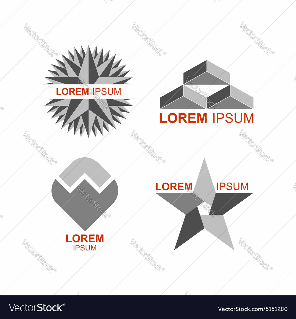 Set of logos in grey icons templates